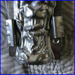 Antique Rare Halloween Skelton and Snake Metal Chocolate Mold