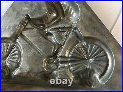 Antique Sommet French Boy On Bicycle Chocolate Mold. Big 9 inches X 11 inches