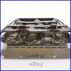 Antique T. G. Weygandt Triple Easter Rabbit Chocolate Candy Mold
