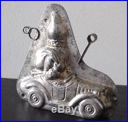 Antique Tin Chocolate Mold Santa Driving Car