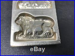 Antique Vintage CHOCOLATE Candy Mold Lion Buffalo Elephant Bear Zoo NICE Marked