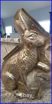 Antique Vintage Large German Sitting EASTER Rabbit Bunny Basket Chocolate Mold