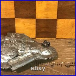 Antique Vintage SANTA ON DONKEY CHOCOLATE Tin MOLD Letang Shape
