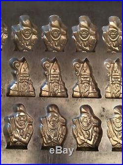 Antique Vintage St. Nicholas & Black Peter Christmas Chocolate Mold. Rare
