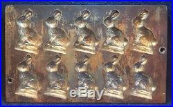 Antique W. Germany Cast Iron Chocolate Rabbits Mold Rustic Country Kitchen Decor