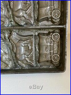 Antique Wild West Indian Cowboy Horse Covered Wagon Tray Chocolate Mold