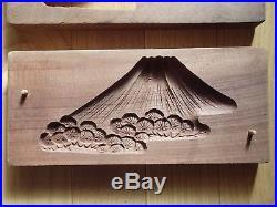 Antique Wooden Japanese Cake Mold Chocolate KASHIGATA Japan wood Mt. Fuji