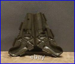 Antique two part chocolate mold of a pistol gun revolver Free shipping