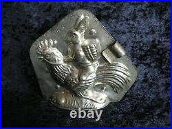 Antique vintage metal chocolate mold shape easter bunny on back of rooster