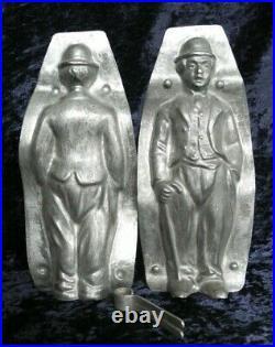 Antique vintage metal iron chocolate candy sugar ice mold shape charlie chaplin