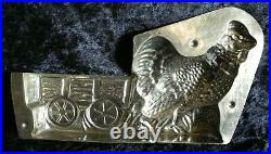 Antique vintage metal iron chocolate mold shape figure chicken with farmer's car