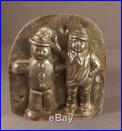 Anton Reiche Antique chocolate mold snowman and little boy
