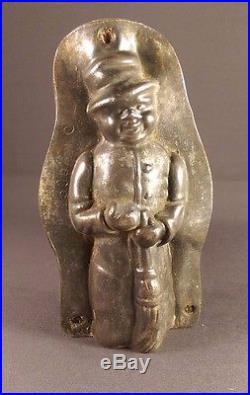 Anton Reiche Antique chocolate mold snowman with broom