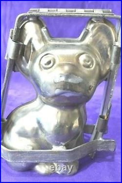 Heavy Antique French Bulldog Frenchie Bull Dog Clamp Chocolate Metal Candy Mold