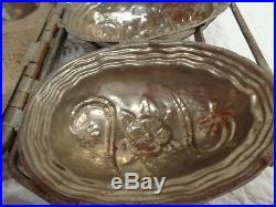 LARGE Antique Hinged 2 Egg Chocolate Mold, Vintage
