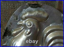 LARGE! Antique Vintage Tin Metal Chocolate Candy Mold Easter Rooster 11 TALL