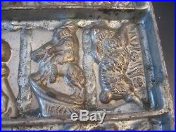 Large Antique Metal Chocolate Mold Rabbits In Outfits/In Action/Easter, Vintage