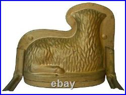 Late 19th-early 20th C American Antique Sheep Candy/chocolate Gold Pntd Tin Mold