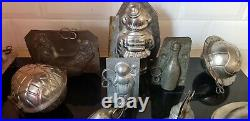 Lot of 17 double Tin Pewter Chocolate Moulds Molds Mold Antique Vintage