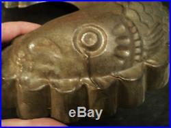 Nice Antique One Sided Tin Food Mold Koi Fish