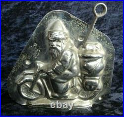 Old Antique Vintage Chocolate Candy Mold Santa-clause On The Moterbike De Haeck