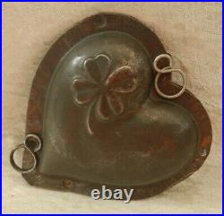 Old Antique Vintage Chocolate Candy Sugar Ice Mold Heart With Four Clover