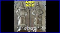 Original Antique Metal Chocolate Mold Larger French Santa with hand in satchel