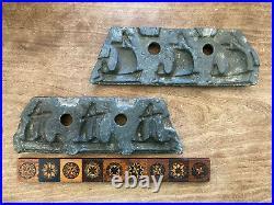 RARE! Antique 19th C Iron Crystal Candy Chocolate Mold Three Sailboats