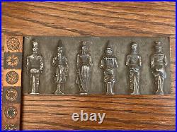 RARE! Antique 19th C Victorian Tin Chocolate Candy Mold 6 Odd Figures Circus Men