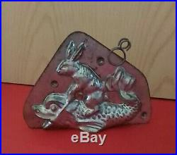 RARE Antique Chocolate Mold Rabbit Riding Magical mythical Fish