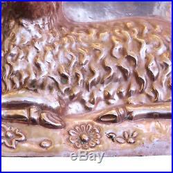 RARE Antique LARGE Copper Chocolate Mold Classic Sitting Lamb AAFA