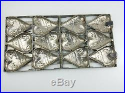 RARE Antique / Vintage Chocolate MOLD 6 Large Valentines Day Cupid Hearts BIG