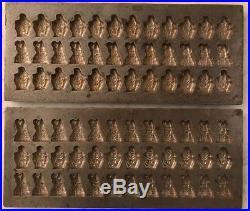 Rare 2 Antique St. Nicholas & Black Peter Christmas Chocolate Molds 36 Ct Tray