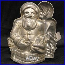 Rare Antique Father Christmas Santa chocolate mold 11 tall
