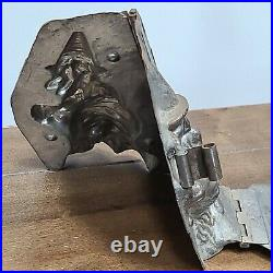 Rare Antique Halloween Witch On Broom Candy Chocolate Mold Weygandt 227