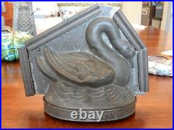 Rare Antique Letang 3-Part Large Swan Chocolate Mold