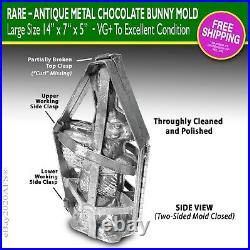 Rare Antique Metal Chocolate Bunny Mold Large 14 High VG+ Xlnt FREE SHIP