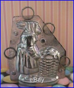 Rare Peasant Rabbit Wearing Clothes German Antique Chocolate Mold 4 1/4 X 3