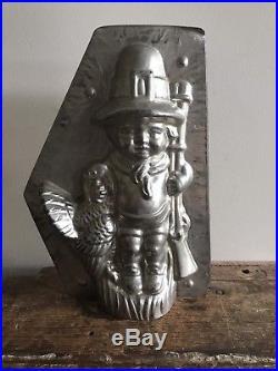 Rare Thanksgiving Pilgrim & Turkey Antique Chocolate Candy Mold