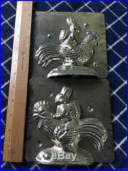 Rare Vintage Bunny Riding Rooster Metal Chocolate Mold USA Antique 1930s -40s