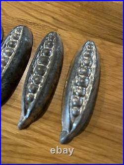 Rare antique peas in a pod tin candy molds set of 6