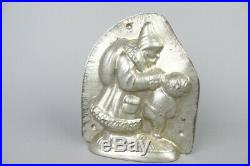 Rare vintage chocolate tin mold, Santa is pulling a boy's ear, german antique