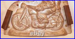 Santa Claus Riding Motorcycle Chocolate Candy Mold Looks To Left Vintage Rare