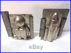 Set of 2 Very Rare Vintage Chocolate Candy Metal Spaceman & Rocket Molds