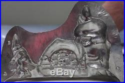 Very Rare Antique/Vintage Chocolate Mold of a Gnome Pulling Santa's Sled no. 181