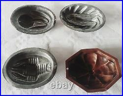Victorian antique set of 4 copper cake chocolate jelly candy pudding molds