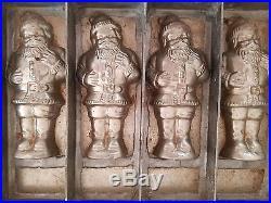 Vintage Antique (4) Flat Santa Claus CHOCOLATE MOLD Primitive Germany