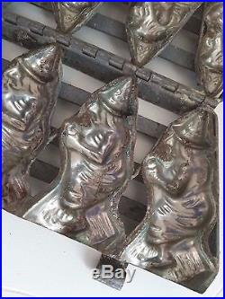 Vintage Antique (4) Witches Witch CHOCOLATE MOLD Primitive Hinged Clips Germany
