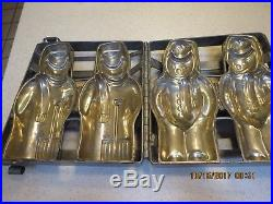 Vintage Antique SNOW MAN Heavy Metal Chocolate Mold Candy Confection
