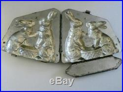 Vintage Anton Reiche 2 Bunny Rabbit Hinged Chocolate Mold Antique